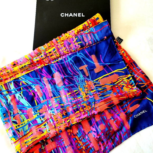 CHANEL silk scarf authentic